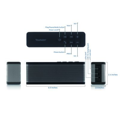Black YM-Z38 Portable Wireless Bluetooth Speaker with Microphone 10W Output Power for Outdoor & Indoor